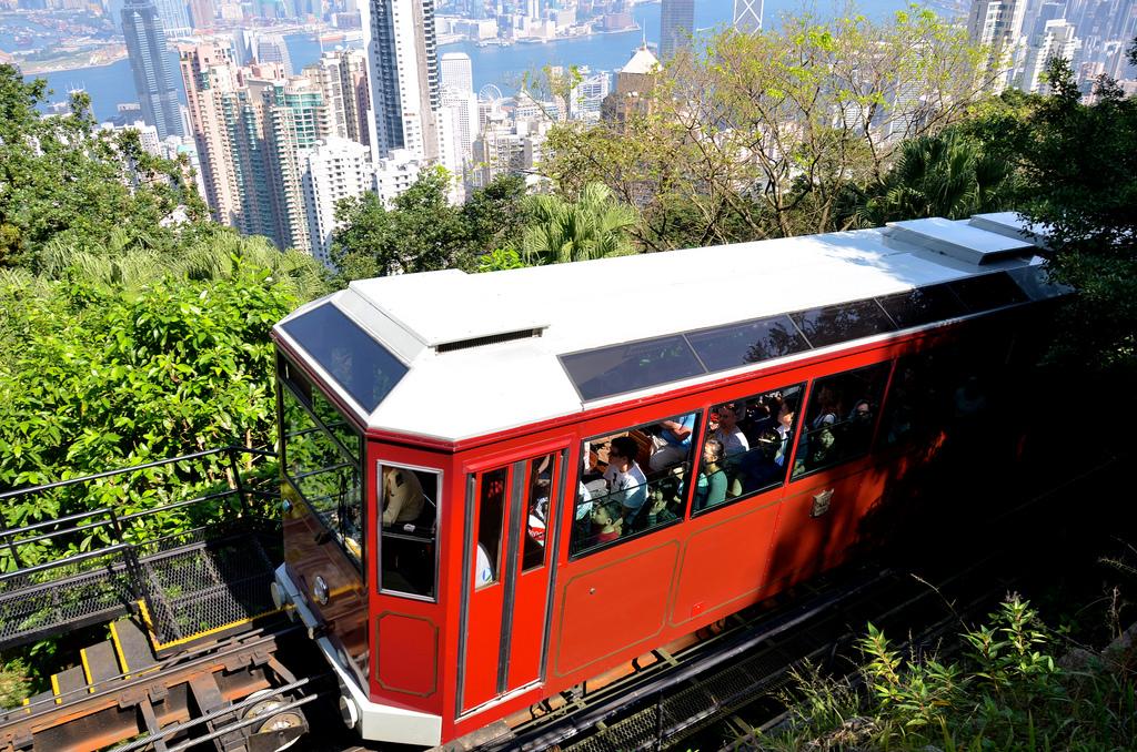 Tram ride to Victoria Peak in Hong Kong