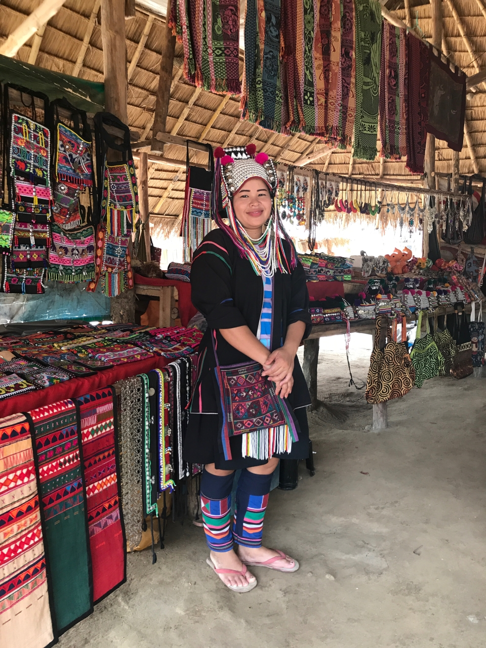 Woman in traditional dress of village in Chaing Mai