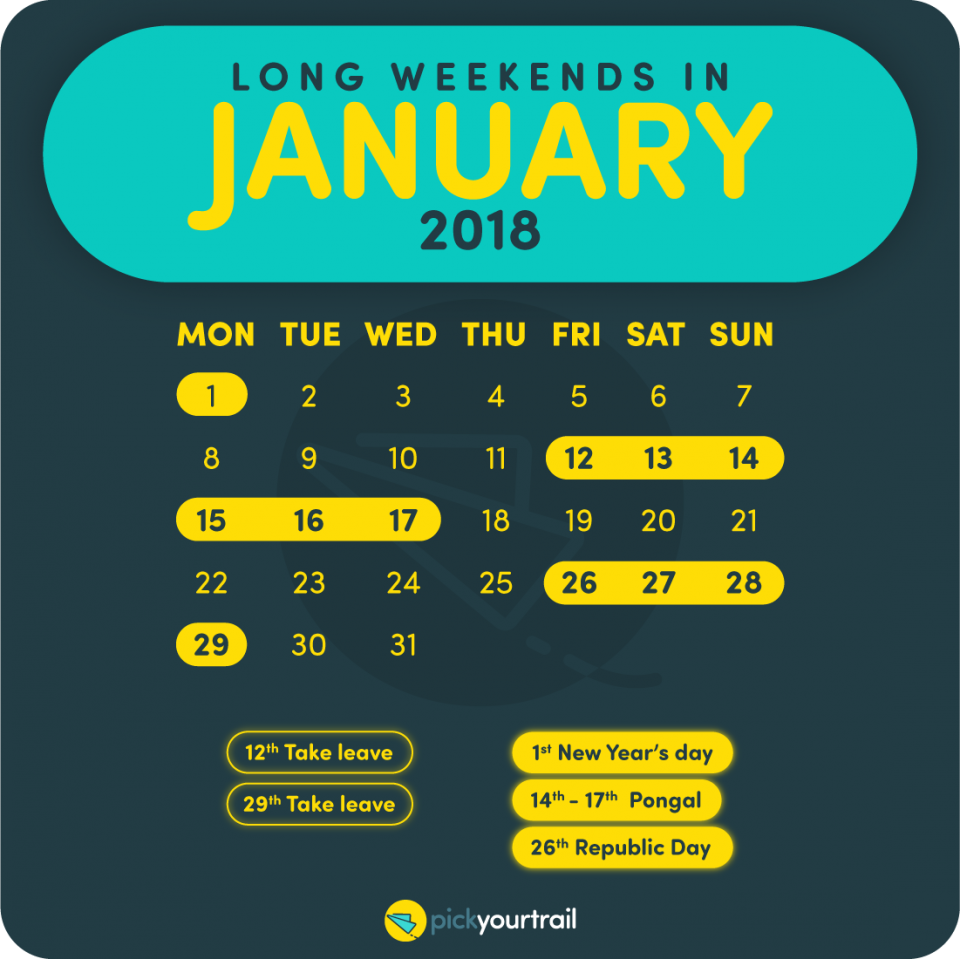 January Long Weekends in 2018