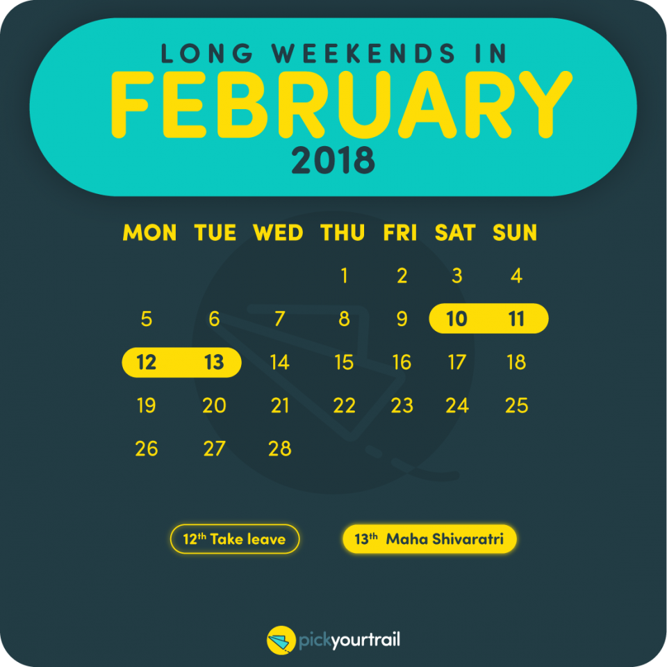 February Long Weekends in 2018
