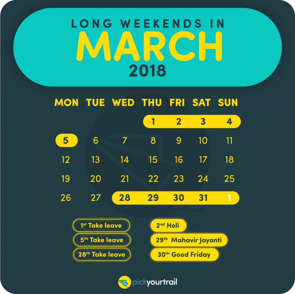 March Long Weekends in 2018