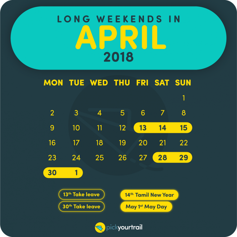 April Long Weekends in 2018