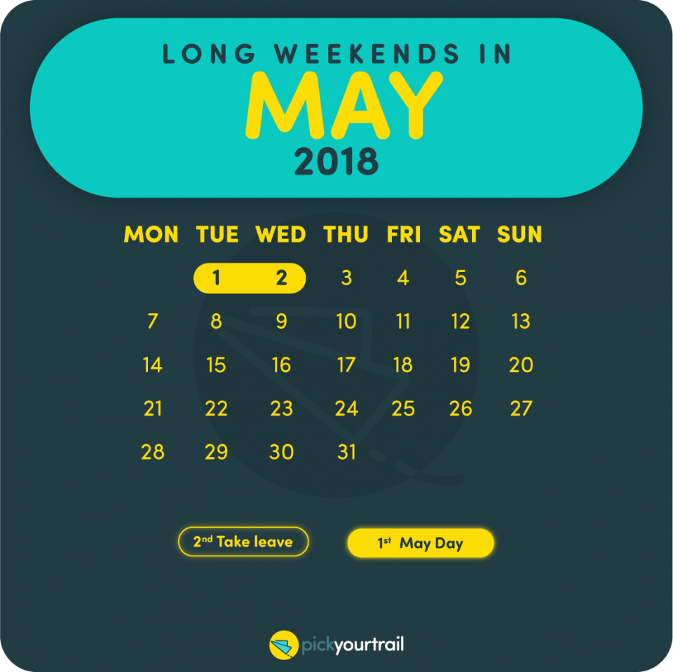 May Long Weekends in 2018