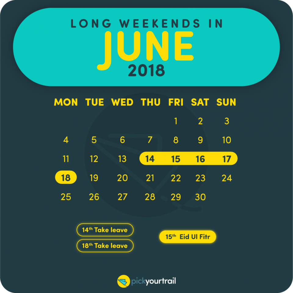 June Long Weekends in 2018