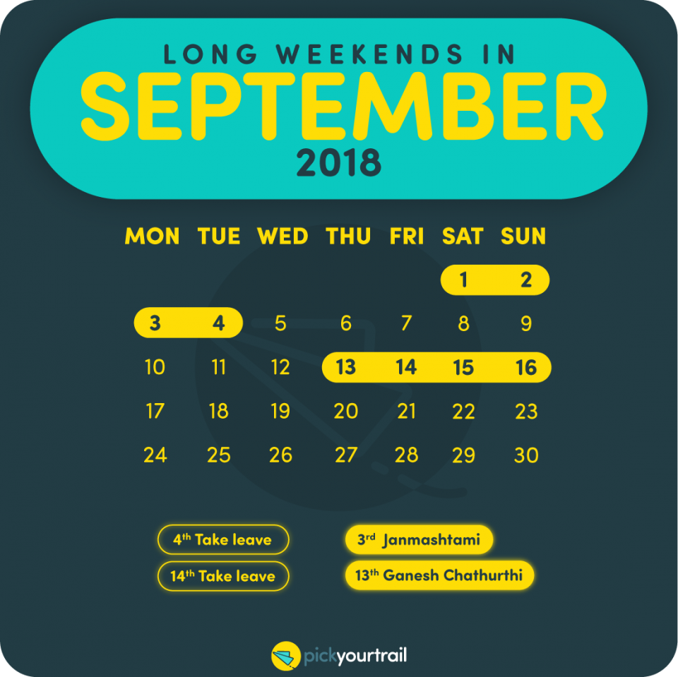 September Long Weekends in 2018