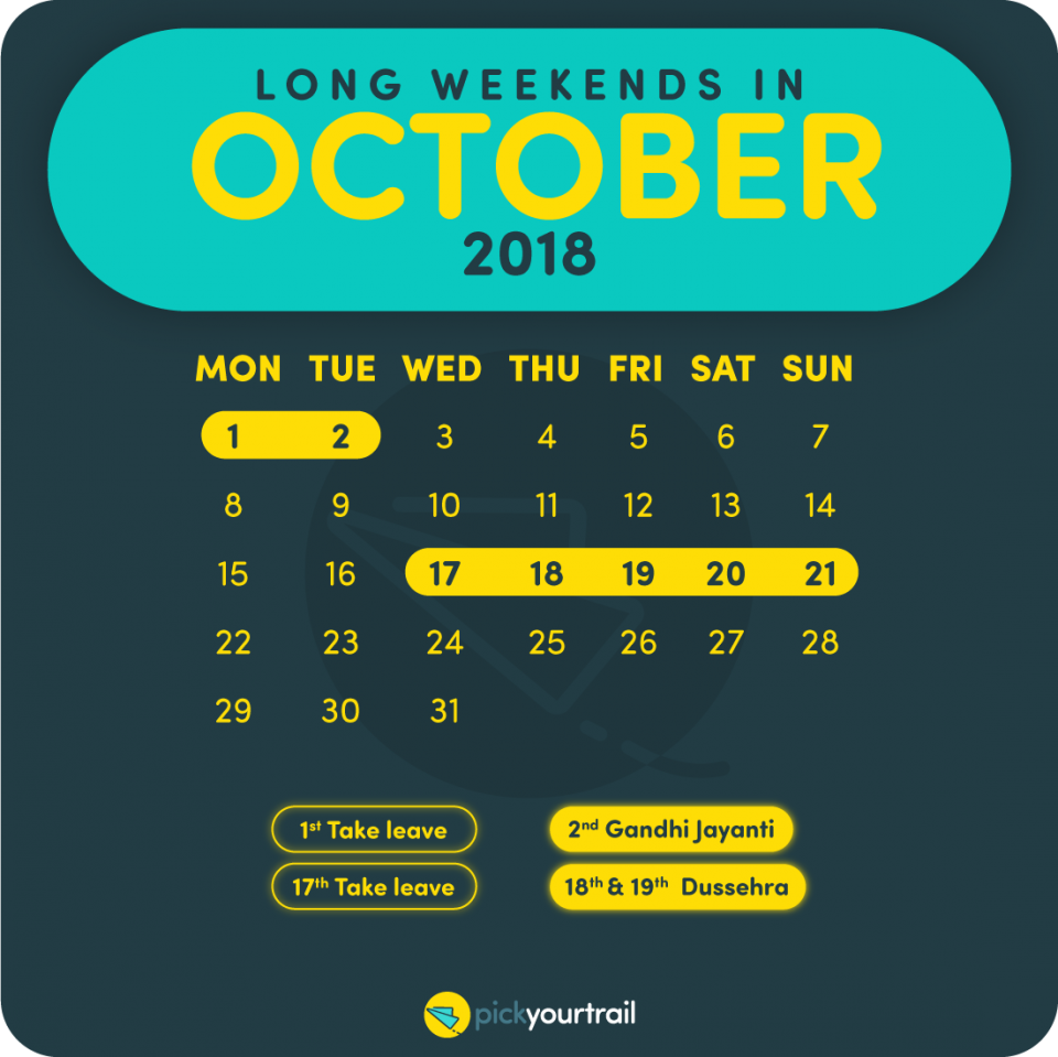 October Long Weekends in 2018