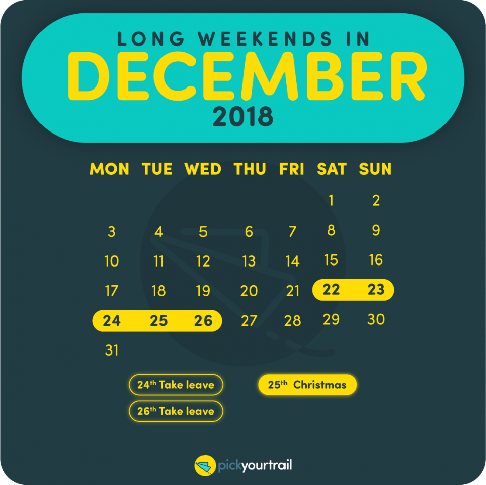 December Long Weekends in 2018