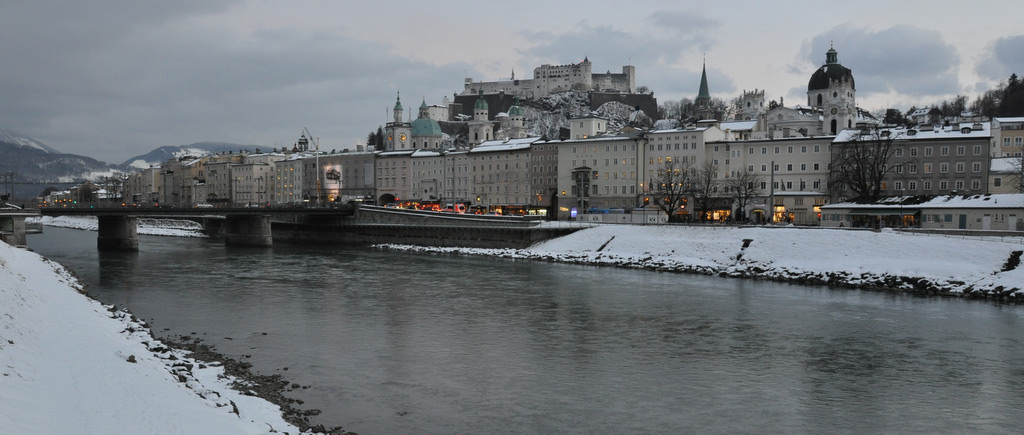 Salzburg, Austria on a winter afternoon