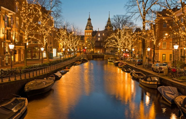 Amsterdam's lit canals during Christmas