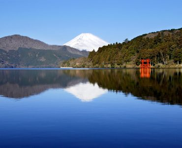 mount fuji from lake ashi